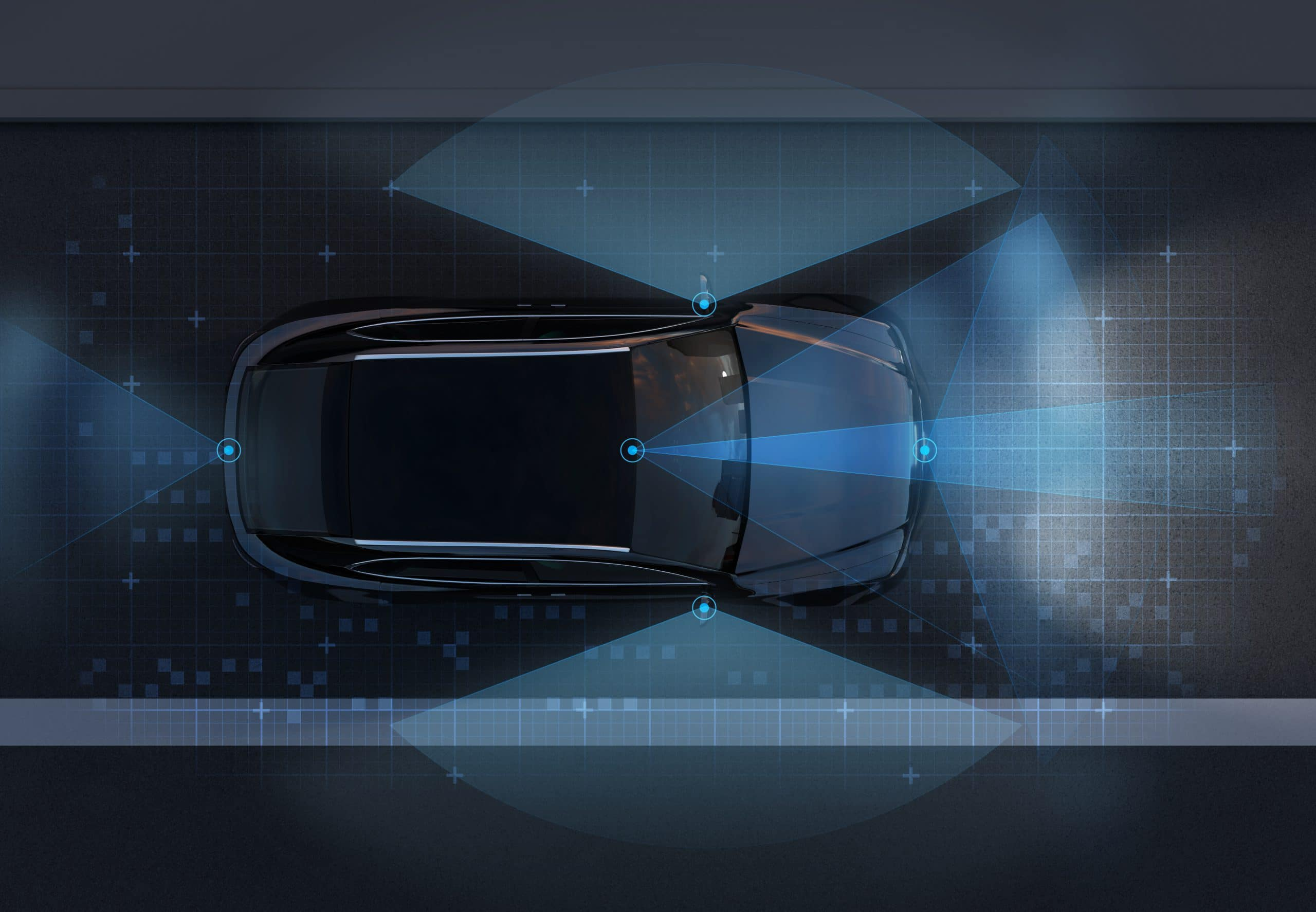 Top view of self-driving SUV on the road with sensing graphic pattern retouched