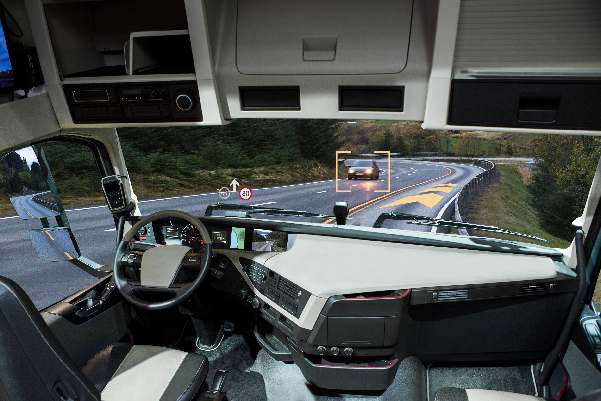 Self driving truck with head up display on a road.