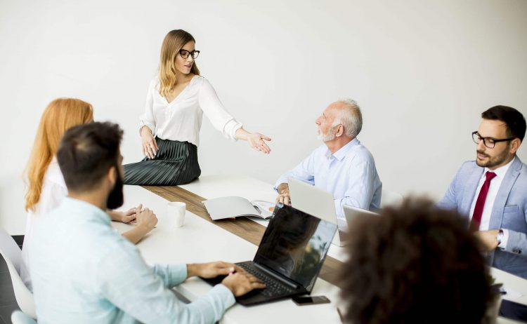 Group of business people working in the modern office