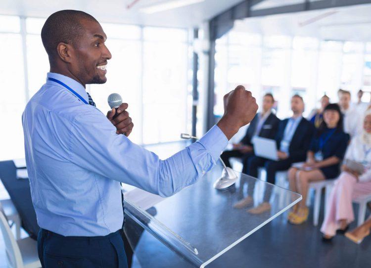 Male speaker speaks in business seminar